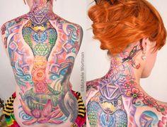 Tattoo Inked by Michele Wortman - Chakra cobra Kundalini Spiritual backpiece.