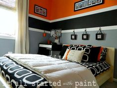 Orange black grey gray white striped feature wall cool teen bedroom