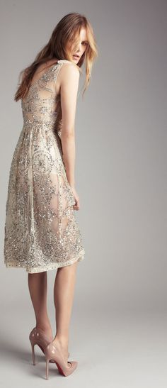 sparkly dress by Collette Dinnigan + nude shoes ... pretty summer outfit  i need some nude shoes