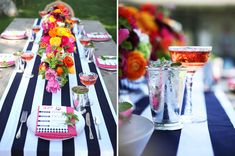Love love love navy stripes and bright flowers for wedding reception and decor!