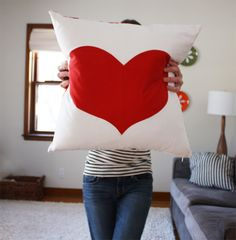 Red Valentine Heart Pillow Tutorial by Noodlehead