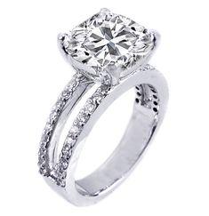 Cushion Diamond Split Band Engagement Rin