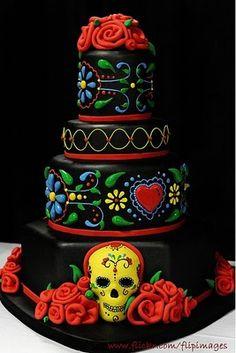 Dia de los muertos!!! @Efren Estrada Estrada Estrada Estrada Morenolack Mexican Day of the Dead cake. So cool!