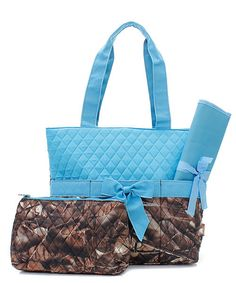 Camo diaper bag/tote turquoise diaper bag by LaLaBoutiqueBling, $34.99