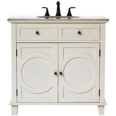 Home Decorators Collection Hudson 36 in. Vanity in White with Natural Marble Vanity Top in White-1663210410 at The Home Depot  FOR THE GUEST BATH