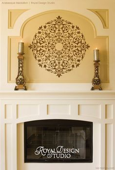 Stenciled fireplace on decorative living room walls