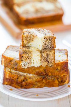Cream Cheese-Filled Banana Bread via @averie/  - Banana bread that's like having cheesecake baked in! Soft, fluffy, easy and tastes ahhhh-mazing! // #creamcheese #banana #bananabread
