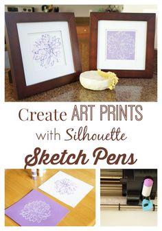 silhouett cameo, silhouette sketch pens, art prints, peoni print, silhouett sketch