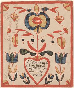 Reward of merit 1811. - Hand-drawn; hand-colored; hand-lettered. The verse in Fraktur is within a heart in the lower center of the document. From it protrudes a lar...