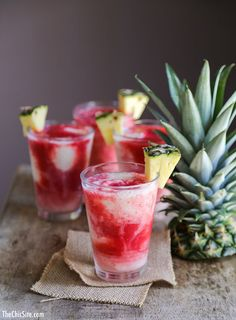 Lava Flow - with Malibu, frozen strawberries, pineapple and white rum