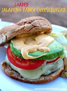 Loaded Cheesy Jalapeno Ranch Cheeseburger - Memories By The Mile #SayCheeseburger #shop #cbias