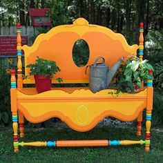 bed frames, beds, headboard benches, yard, garden benches, potting benches, bed headboards, gardens, bright colors