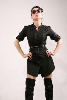 Black classic shirt and dress by EllaLai on Etsy,