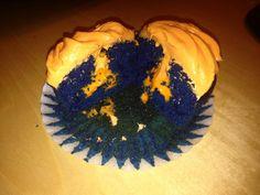Denver Broncos Velvet Cupcakes....blue food coloring for the cake and orange food coloring for the cream cheese frosting