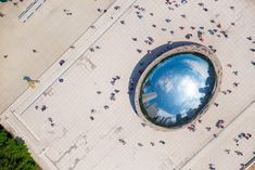 An Aerial View of Anish Kapoor's Reflective 'Cloud Gate' Sculpture  http://www.thisiscolossal.com/2014/08/an-aerial-view-of-anish-kapoors-reflective-cloud-gate-sculpture/