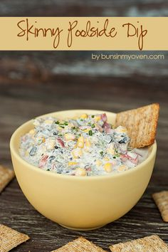Skinny Poolside Dip. This dip is perfect for a hot summer day! The crunchy veggies and creamy cheese are cool and refreshing! Just omit the veggies you don't like.