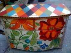 Painted chest  -- Love the flowers, not the top