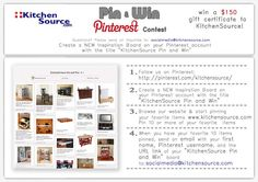 Join our Pin to Win Contest and win 150 dollar Gift Certificate to Kitchensource.com