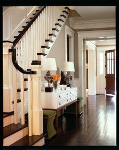 stairs/hardwood floors/ bulky trim on top of doors