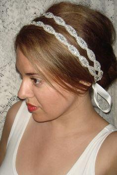 Wedding Headpiece, headband- Athena, rhinestone Headband, Wedding Headband, Bridal Headband, Bridal Headpiece, Accessories, Wedding, Tie on. $74.00, via Etsy.