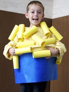Easy Homemade Halloween Costumes For Kids: Start saving cardboard paper towel and toilet paper tubes to make this clever costume. If you don't have time, just use yellow oak tag.  The macaroni tubes are adhered to a yellow cheese-colored rain jacket and the bowl is made from a laundry basket covered in blue cardboard. Design by Manvi Drona From DIYnetwork.com