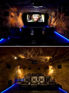 As an homage to the Dark Knight, this man cave takes the meaning to a whole new level with theater-seating and a 10 foot movie screen movie theaters, movie rooms, home theaters, dream, theater rooms, theatr, bat, mancaves, man caves