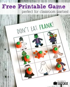 """My Sister's Suitcase: Printable Halloween Game """"Don't Eat Frank!"""""""