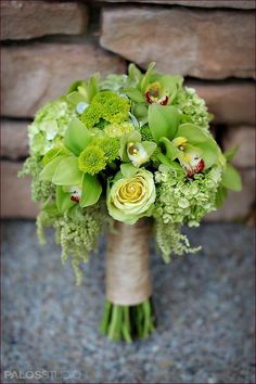 All green bouquet - love the cymbidium orchids