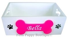 Hand Painted Wooden Dog Toy Box- Many Colors- Beds, Blankets & Furniture - Toy Boxes Posh Puppy Boutique