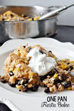 simple dinner recipe, chicken dinners, easy dinner, dinner recipes, one pan fiesta bake, easi dinner