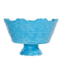 Another great find on #zulily! Turquoise Fancy Scroll Footed Serving Bowl by Home Essentials and Beyond #zulilyfinds