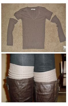 DIY old sweater to boot socks fashion, idea, crafti, diy old sweaters, boot socks, boots, middle school diy, diy couples crafts, diy clothes from old clothes