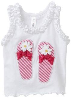 Love U Lots Baby-girls Infant Daisy Flip Flops Applique Ruffle Tank Top