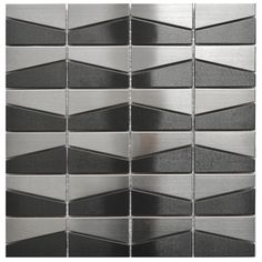 Stainless Steel Tile-Modern Trapezoid Stainless Steel and Black Mix Tile