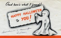 Inside illustration in a 1940s ghost themed Halloween card. #vintage #1940s #Halloween #cards