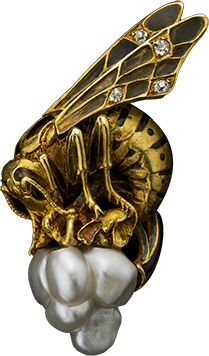 ALBION ART Antique Jewelry - Gold, pearl, enamel brooch, ca.1900, France, ALBION ART Collection. pearl, bee brooch, enamel brooch, jewelri