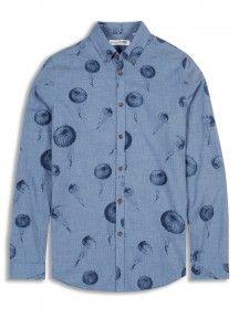 Blue Long Sleeve Plectrum Artisan Parachute Print Button-Down Shirt