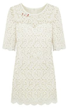 White Half Sleeve Hollow Lace Embroidery Dress