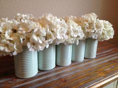 Shabby Chic Pale Mint Wedding Tin Vase Decor. $5.00, via Etsy.
