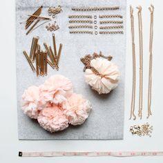 pink pom pom necklaces