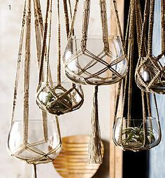 Lonny hanging glass plant and candle holders, for the porch