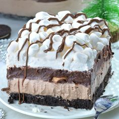 Hot Chocolate Lasagna is delicious dessert, perfect for parties to feed the crowd and it's completely no bake recipe!!! If you are looking for perfect Christmas dessert recipe, you should make this easy, no bake layered dessert with Oreo crust, hot chocolate cheesecake mousse layer, chocolate pudding, whipped cream and mini marshmallows.