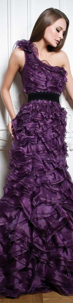 PURPLE DREAM Collection: VANITY /  Rochie sofisticata pe un umar cu volane de organza #purple #oneshoulder #elegant #formal #dress