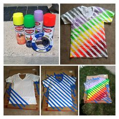 Cute Girls Camp shirts. All you need is painters tape, spray paint, t-shirt, and cardboard. Rainbow will be cute for Hawaiian Temple theme.