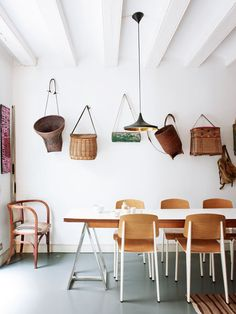 Dining room with wicker baskets: Apartment in the Gothic Quarter of Barcelona