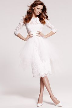 Three-quarter sleeve, re-embroidered lace with grosgrain belt and tulle, cocktail-length skirt overlay (color: cream, style B80901).