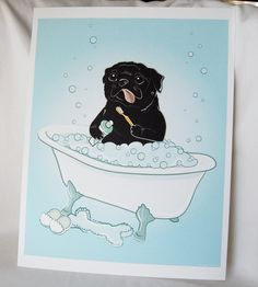 Bathtime Black Pug - Eco-Friendly 8x10 Print. $16.00, via Etsy.