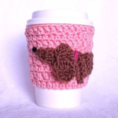 Wiener Dog travel mug cup cozy coffee crochet by CageFreeFibers