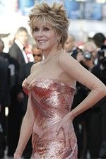 Veteran of Cannes,Jane Fonda, the American actress was wearing a pair of 18ct rose gold earrings set with brown diamonds and an 18ct ring set with brown diamonds both from Chopard's Animal World collection.