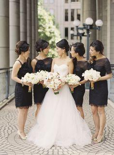Elegant bridesmaid dresses for a black and white wedding